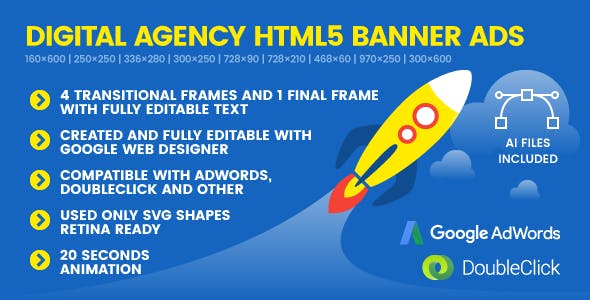 SEO Genius Digital Agency - Animated HTML5 Banner Ad Templates (GWD)