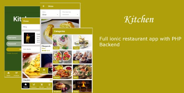 Kitchen - Ionic 3 restaurant  template