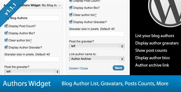 Advanced Blog Authors Widget