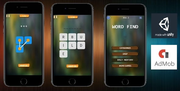 Word Find - ( Unity - Admob - IAP - Android ) Easy Reskin