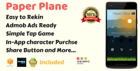 Paper Plane - Buildbox Game Template & Android Eclipse Project - CodeCanyon Item for Sale