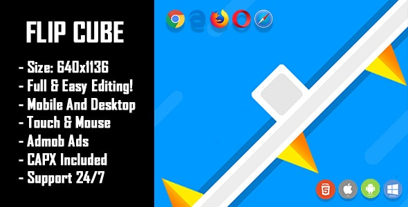 Flip Cube - HTML5 Game + Mobile Version! (Construct 2 / Construct 3 / CAPX) - CodeCanyon Item for Sale