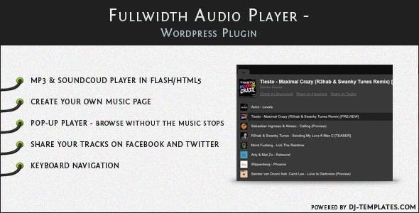 Fullwidth Audio Player - Wordpress plugin        Nulled
