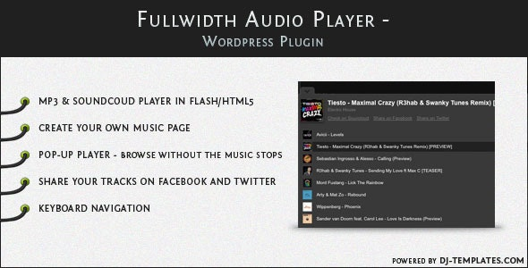 Fullwidth Audio Player - Wordpress plugin - CodeCanyon Item for Sale