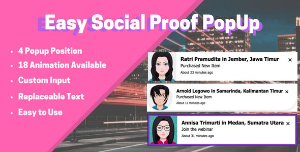 Easy Social Proof Popup - CodeCanyon Item for Sale