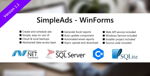 SimpleAds - WinForm and ASP.NET Web API