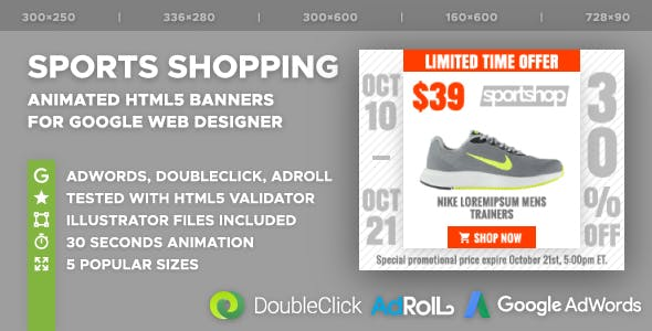 Sports Shopping HTML5 Banner Ad Templates (GWD)