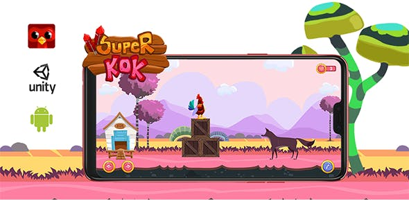 Super KOK | User control Cock runner game by Unity | 2D platformer  with AdMob
