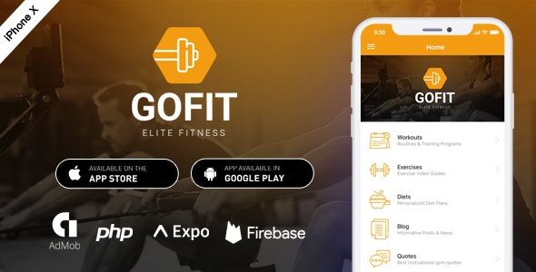GoFit - Complete React Native Fitness App + Backend - CodeCanyon Item for Sale