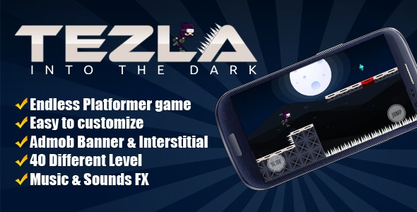 Tezla: Into The Dark - Runner Android Game With Admob - CodeCanyon Item for Sale