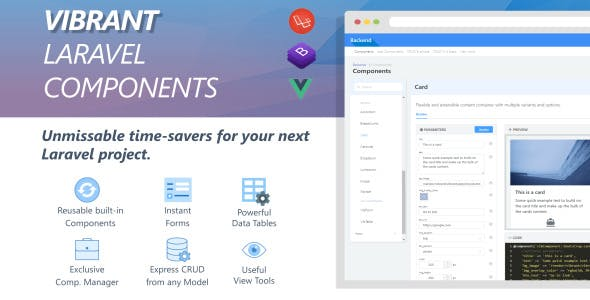 Vibrant Laravel Component Manager with Code Builder & Express CRUD