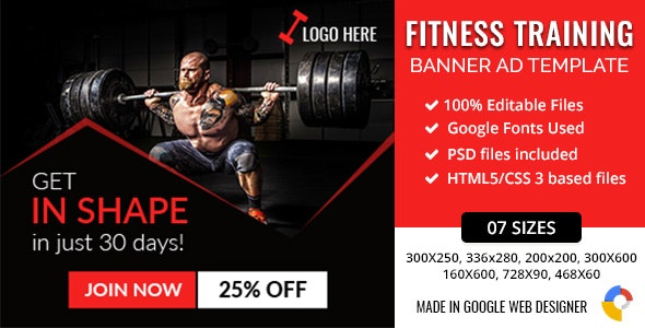 GWD | Fitness Training HTML5 Banners - 07 Sizes - CodeCanyon Item for Sale