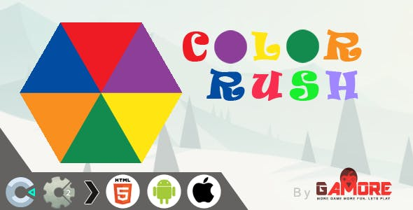 HTML5 Color Rush Game -  CAPX  file for Construct 2 & 3  )