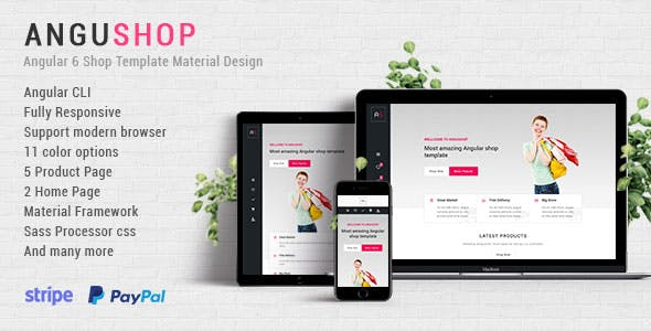 Angushop - Angular 6 Shop Template Material Design