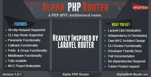 Alpha PHP Router | A PHP-MVC-Architectural Laravel Standalone - CodeCanyon Item for Sale