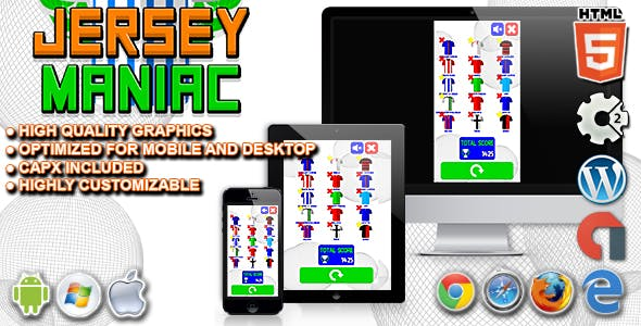 Jersey Maniac - HTML5 Construct 2 Football Quiz Game