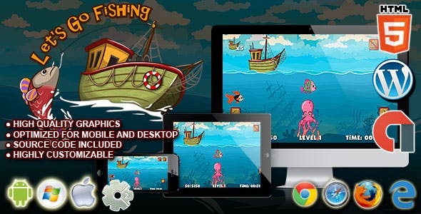Let's Go Fishing - HTML5 Construct 2 Skill Game