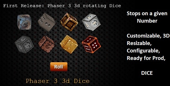 Phaser 3 3D Dice Class: Customizable - CodeCanyon Item for Sale