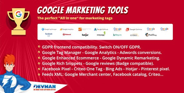 Google Marketing Tools - The most complete marketing tool to Woocommerce! GDPR adapted!