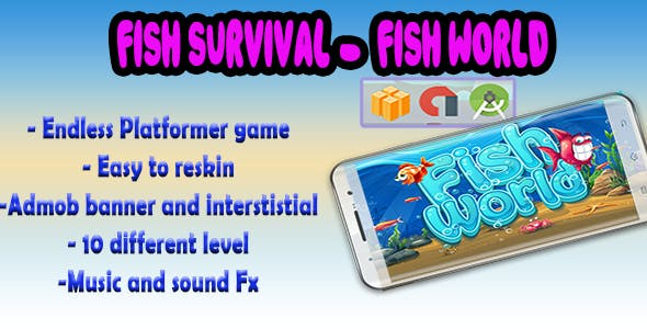 Fish World - Android Studio + Eclipse + Buildbox Template with Admob