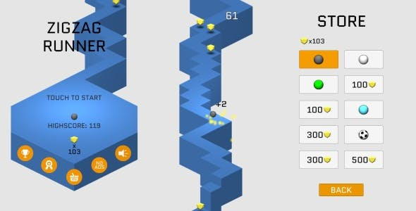 ZigZag Runner Unity3D Game (Admob Ads integrated)