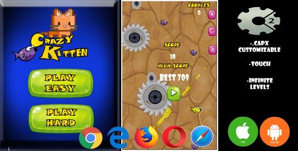 CRAZY KITTEN (HTML5,Android,IOS Capx C2 Touch)