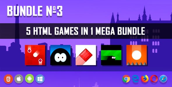 5 HTML5 Games + Mobile Version!!! BUNDLE №3 (Construct 2 / CAPX)