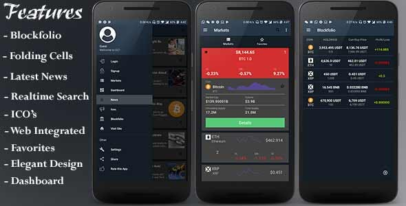 CCT - Crypto Currency Tracker Android App | Blockfolio | ICO's | Admob Ads | Notifications | News