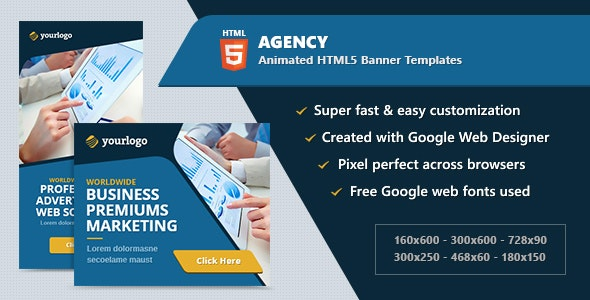 HTML5 Animated Banner Ads - Agency Business (GWD) - CodeCanyon Item for Sale