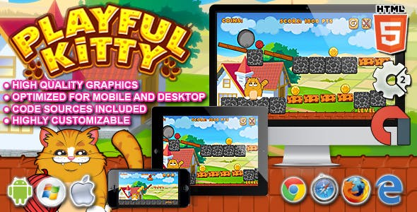 Playful Kitty - HTML5 Construct 2 Game