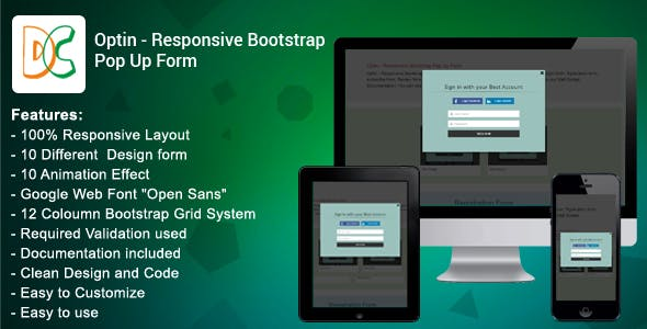 Optin - Responsive Bootstrap 3 Pop Up Form