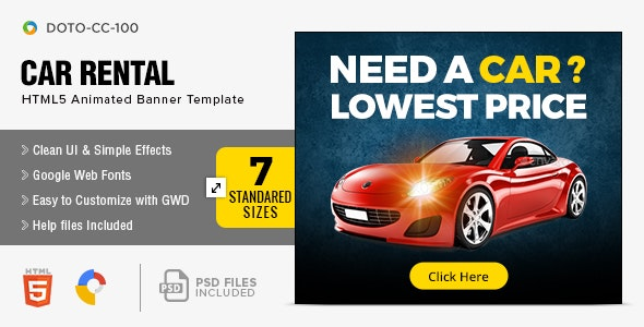 Car Rental HTML5 Banners - 7 Sizes - CodeCanyon Item for Sale