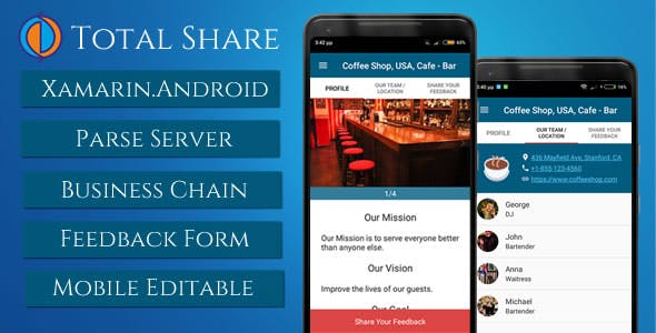Total Share, Business presentation with feedback form (Xamarin.Android with Parse Server)
