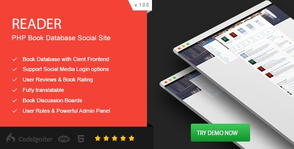 Reader - PHP Book Database Social Site - CodeCanyon Item for Sale