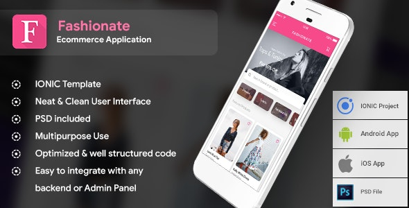 Fashion Ecommerce Android + Online Shopping iOS App Template (HTML + CSS IONIC Framework) Fashionate - CodeCanyon Item for Sale