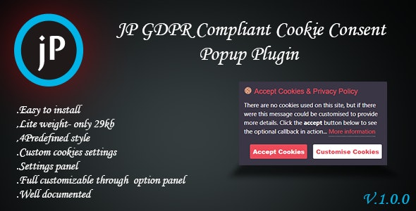 JP GDPR Compliant Cookie Consent Popup Plugin - CodeCanyon Item for Sale
