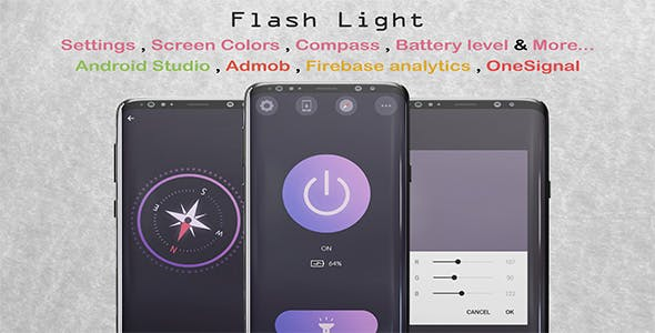 FlashLight with Compass & More (Material Design , Android Studio , Admob , FireBase)