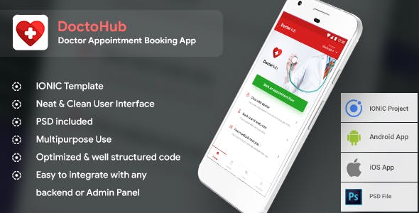 Doctor Appointment Booking Android + iOS Template (HTML+CSS in IONIC Framework) | DoctoHub