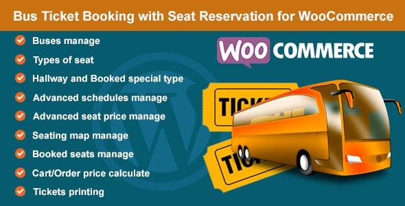 Bus Ticket Booking with Seat Reservation for WooCommerce - CodeCanyon Item for Sale