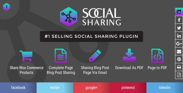Wordpress social sharing and print page post to pdf plugin