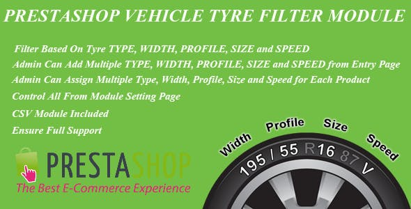 Prestashop vehicle Tyre Filter Module Type/Width/Profile/Size/Speed