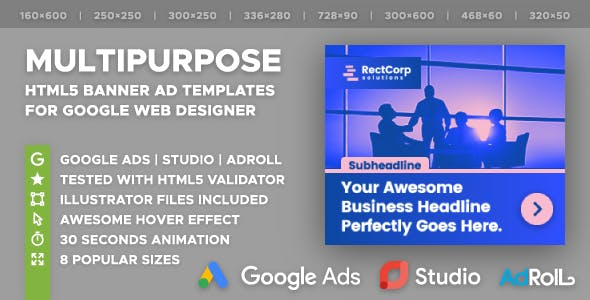 RectCorp - Multipurpose HTML5 Banner Ad Templates (GWD)