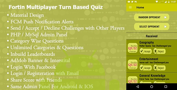 Fortin Quiz -Turned Based Accept/Decline Challenge - CodeCanyon Item for Sale