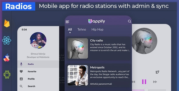 UniExpo - radio stations app + backend (React native + Expo ) - CodeCanyon Item for Sale