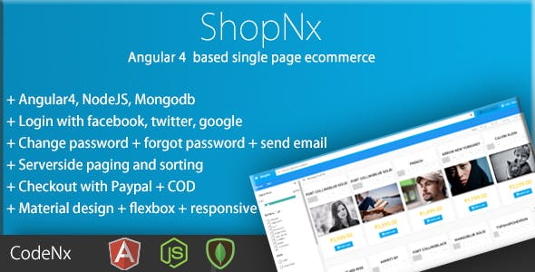 ShopNx - Angular5 Single Page Shopping Cart Application
