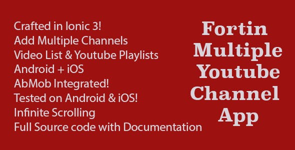 Fortin Multiple Channels Youtube App Ionic