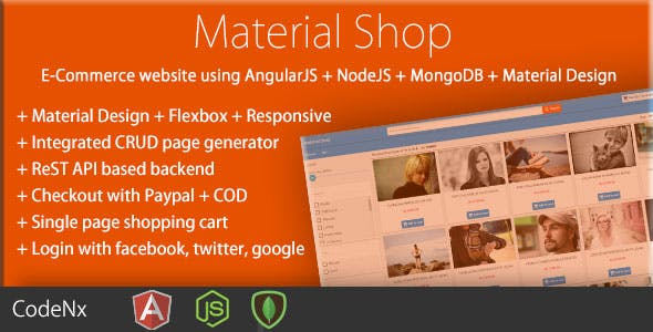 Material Shop - Material Designed Shopping Cart Using AngularJS