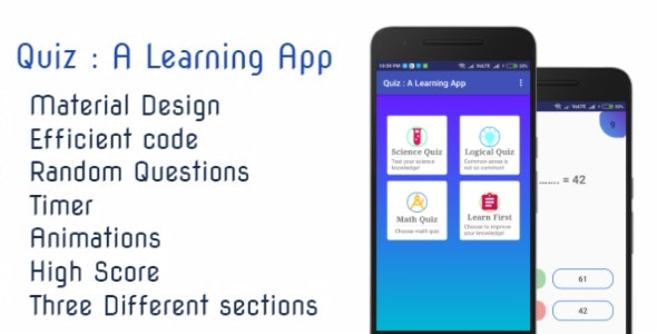 Quiz : A Learning App | Material Design | Efficient code by