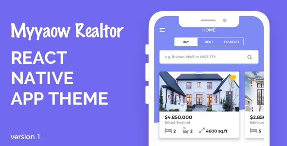 Myyaow Realtor - React Native Theme - CodeCanyon Item for Sale