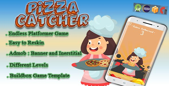 Pizza Catcher - Android Studio + Eclipse + Buildbox Template with Admob